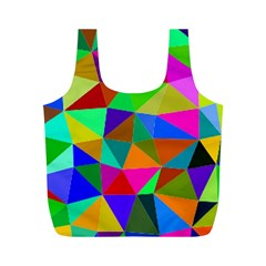 Colorful Triangles, oil painting art Full Print Recycle Bags (M)