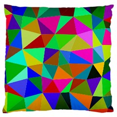 Colorful Triangles, oil painting art Large Flano Cushion Case (Two Sides)