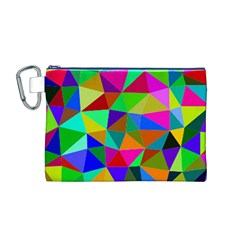 Colorful Triangles, oil painting art Canvas Cosmetic Bag (M)