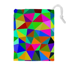 Colorful Triangles, oil painting art Drawstring Pouches (Extra Large)