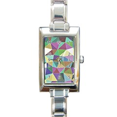 Colorful Triangles, pencil drawing art Rectangle Italian Charm Watch
