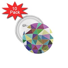 Colorful Triangles, pencil drawing art 1.75  Buttons (10 pack)