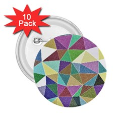 Colorful Triangles, pencil drawing art 2.25  Buttons (10 pack)