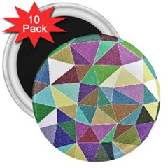 Colorful Triangles, pencil drawing art 3  Magnets (10 pack)