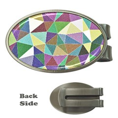 Colorful Triangles, pencil drawing art Money Clips (Oval)