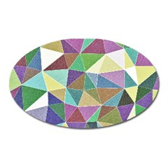 Colorful Triangles, pencil drawing art Oval Magnet