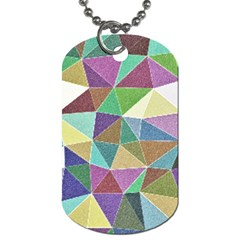 Colorful Triangles, pencil drawing art Dog Tag (One Side)