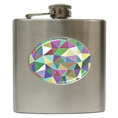 Colorful Triangles, pencil drawing art Hip Flask (6 oz)