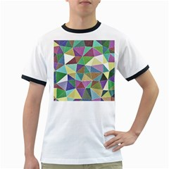 Colorful Triangles, pencil drawing art Ringer T-Shirts