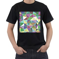 Colorful Triangles, pencil drawing art Men s T-Shirt (Black) (Two Sided)