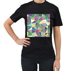 Colorful Triangles, pencil drawing art Women s T-Shirt (Black) (Two Sided)