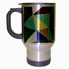 Colorful Triangles, pencil drawing art Travel Mug (Silver Gray)