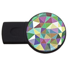 Colorful Triangles, pencil drawing art USB Flash Drive Round (4 GB)
