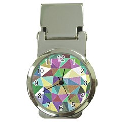 Colorful Triangles, pencil drawing art Money Clip Watches