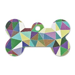Colorful Triangles, pencil drawing art Dog Tag Bone (One Side)
