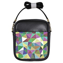 Colorful Triangles, pencil drawing art Girls Sling Bags