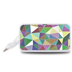 Colorful Triangles, pencil drawing art Portable Speaker (White)