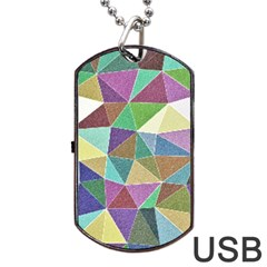 Colorful Triangles, pencil drawing art Dog Tag USB Flash (Two Sides)