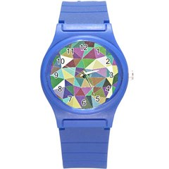 Colorful Triangles, pencil drawing art Round Plastic Sport Watch (S)