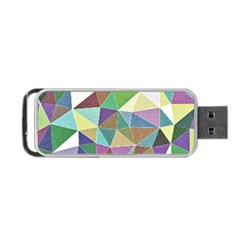Colorful Triangles, pencil drawing art Portable USB Flash (One Side)