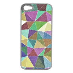 Colorful Triangles, pencil drawing art Apple iPhone 5 Case (Silver)
