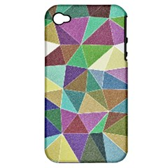 Colorful Triangles, pencil drawing art Apple iPhone 4/4S Hardshell Case (PC+Silicone)