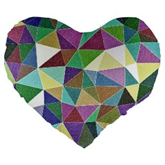 Colorful Triangles, pencil drawing art Large 19  Premium Heart Shape Cushions