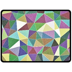 Colorful Triangles, pencil drawing art Double Sided Fleece Blanket (Large)