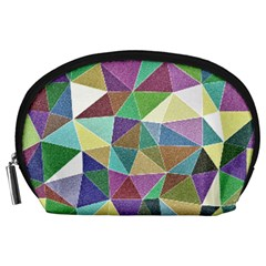 Colorful Triangles, pencil drawing art Accessory Pouches (Large)