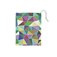 Colorful Triangles, pencil drawing art Drawstring Pouches (Small)