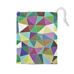 Colorful Triangles, pencil drawing art Drawstring Pouches (Large)