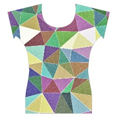 Colorful Triangles, pencil drawing art Women s Cap Sleeve Top