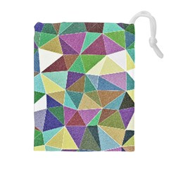Colorful Triangles, pencil drawing art Drawstring Pouches (Extra Large)