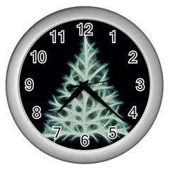 Christmas fir, green and black color Wall Clocks (Silver)