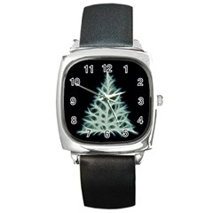 Christmas fir, green and black color Square Metal Watch