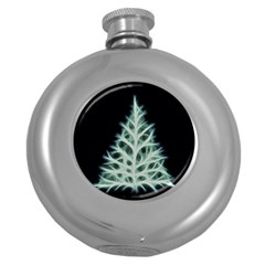 Christmas fir, green and black color Round Hip Flask (5 oz)