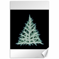 Christmas fir, green and black color Canvas 12  x 18