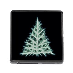 Christmas fir, green and black color Memory Card Reader (Square)