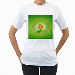 Beautiful Christmas Tree Design Women s T-Shirt (White) (Two Sided)