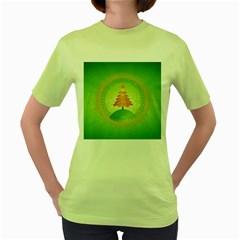 Beautiful Christmas Tree Design Women s Green T-Shirt