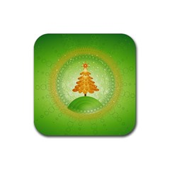Beautiful Christmas Tree Design Rubber Coaster (Square)
