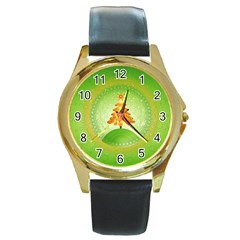 Beautiful Christmas Tree Design Round Gold Metal Watch