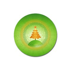 Beautiful Christmas Tree Design Magnet 3  (Round)