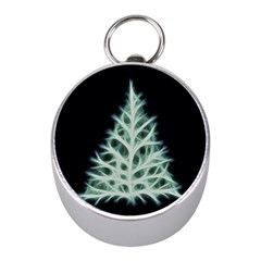 Christmas Fir, Green And Black Color Mini Silver Compasses