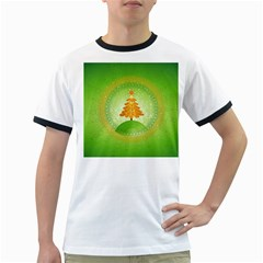 Beautiful Christmas Tree Design Ringer T-Shirts