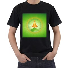 Beautiful Christmas Tree Design Men s T-Shirt (Black) (Two Sided)