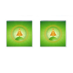 Beautiful Christmas Tree Design Cufflinks (Square)