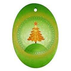 Beautiful Christmas Tree Design Oval Ornament (Two Sides)