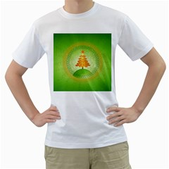 Beautiful Christmas Tree Design Men s T-Shirt (White)