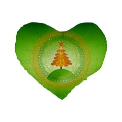 Beautiful Christmas Tree Design Standard 16  Premium Flano Heart Shape Cushions
